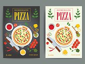 Set of bright pizzeria advertisement posters design. Vector italian pizza restaurant ad flyer or banner. Fast food cooking background illustration