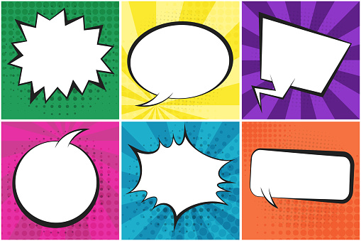 Set of bright retro comic speech bubbles on colorful dotted and striped backgrounds in pop art style. Cartoon green, yellow, purple, blue places for comics book, advertisement text, web design, poster