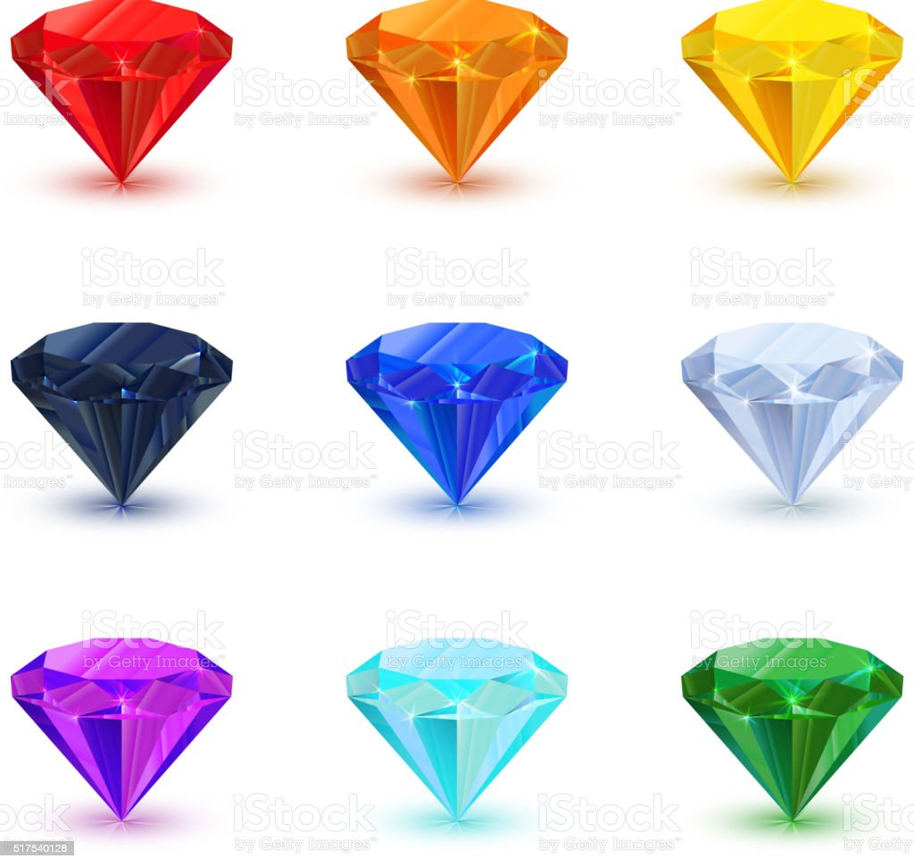 Set of bright shiny gemstone on white vector art illustration