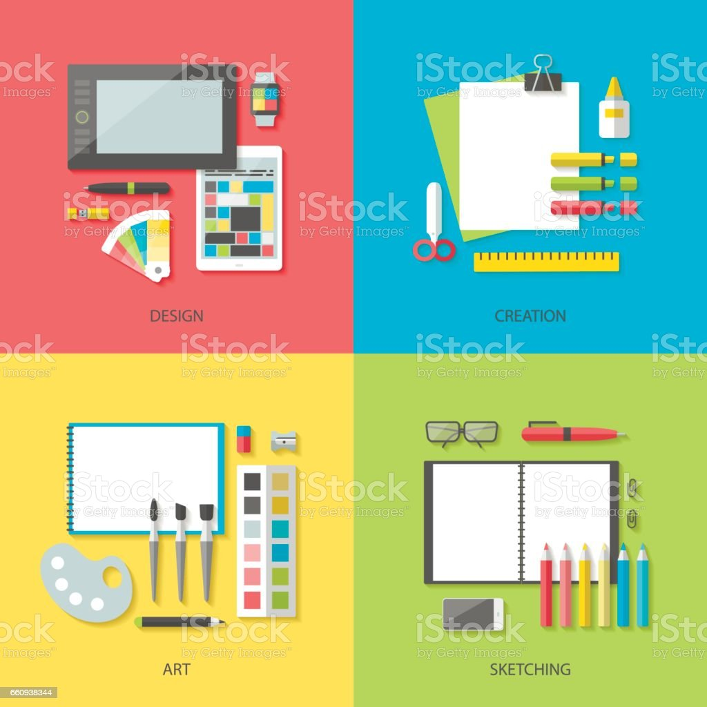 Set of bright square banners design and art vector art illustration