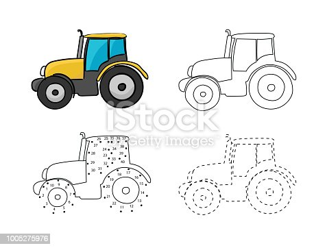 Set of bright wheeled tractors for kids drawing. Vector illustrations of hand drawn element. Educational children painting game.