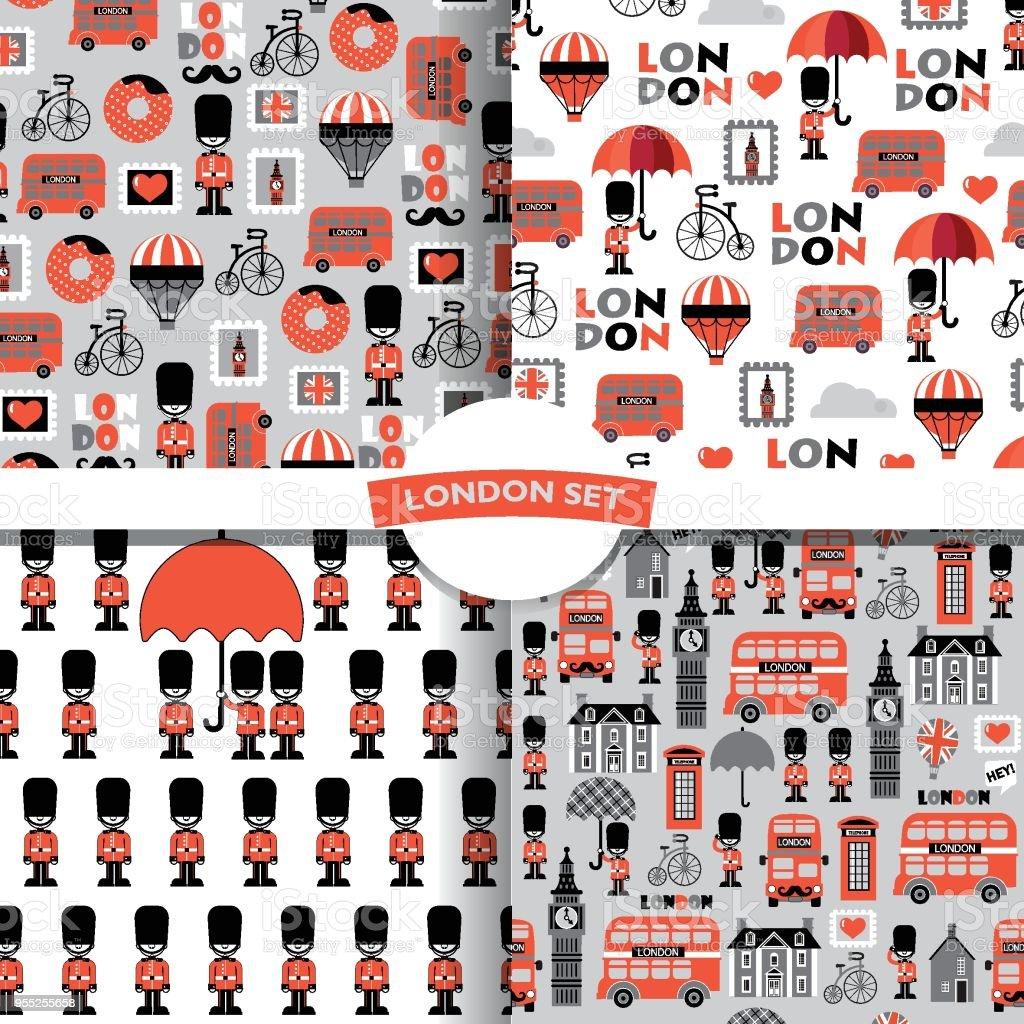set of  british childish vector seamless patterns vector art illustration