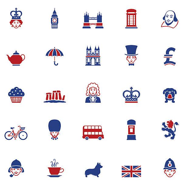 набор иконок британский - культура великобритании stock illustrations