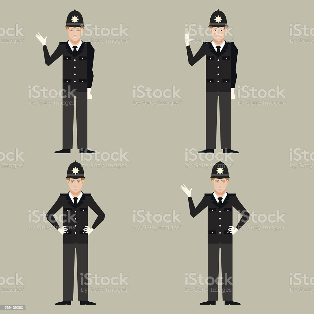Set of British Police men vector art illustration