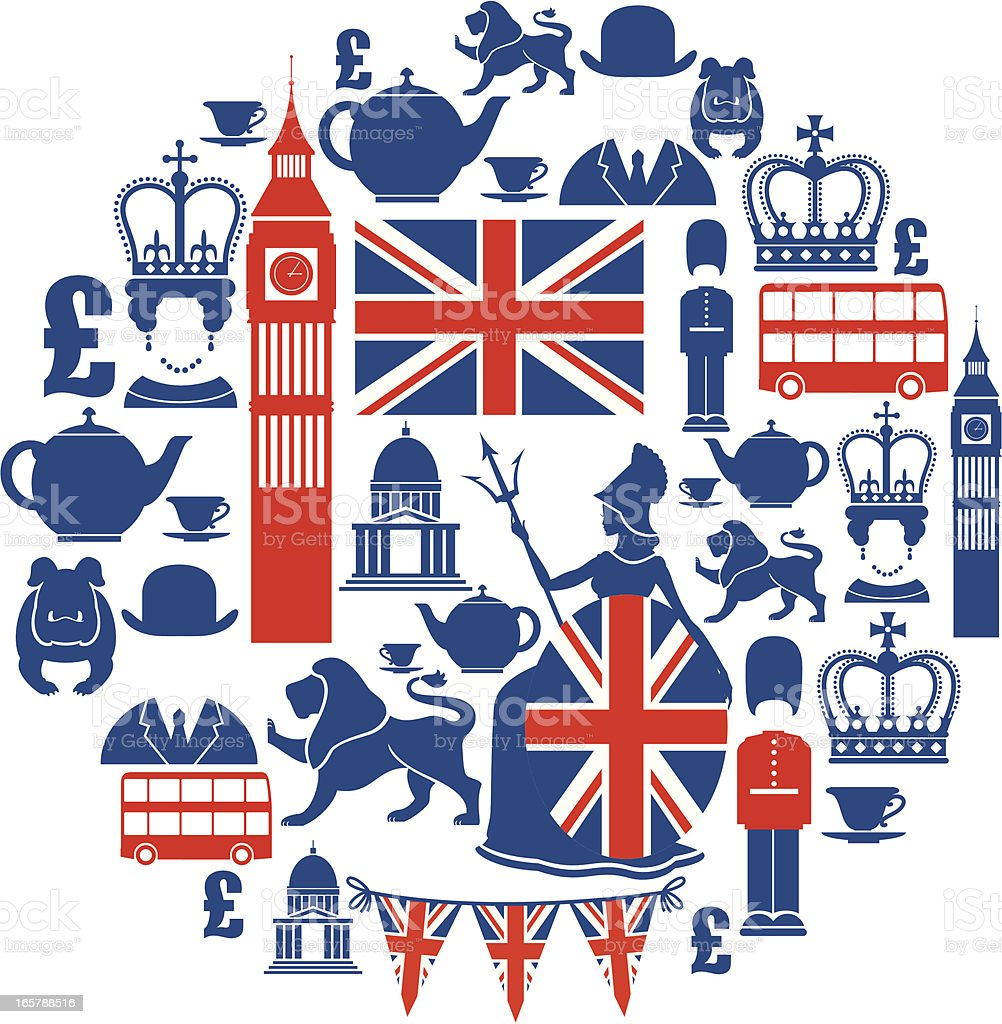 Set of British themed icons in blue and red vector art illustration