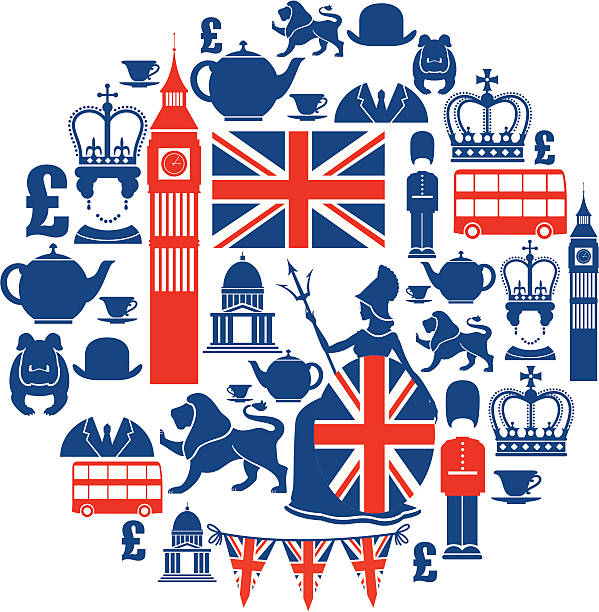 stockillustraties, clipart, cartoons en iconen met set of british themed icons in blue and red - britse cultuur