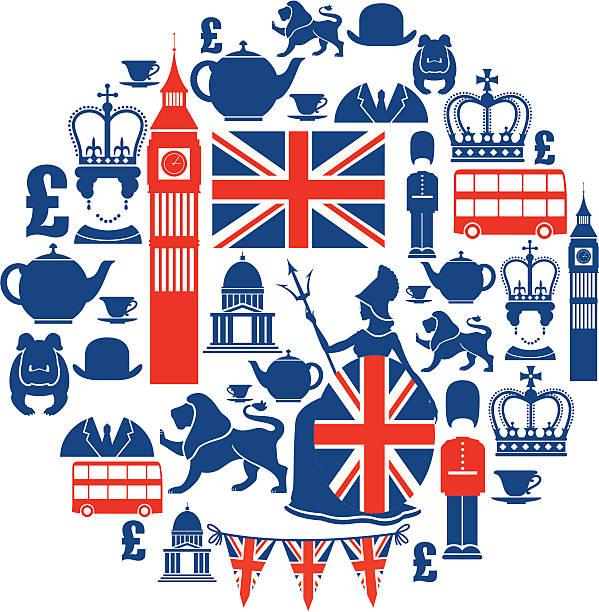 набор british тематические иконки в синий и красный - культура великобритании stock illustrations