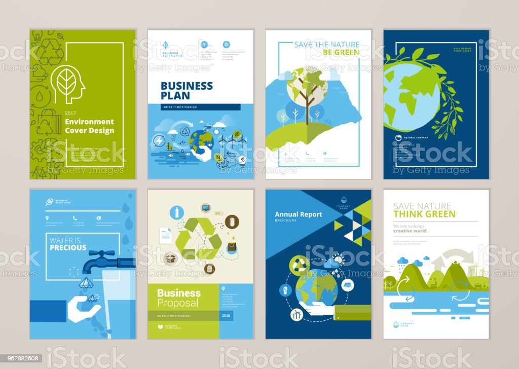 パンフレットとの自然、緑の技術、エネルギー、持続可能な開発、環境年次レポート カバー デザイン テンプレートのセット - アイコンのロイヤリティフリーベクトルアート