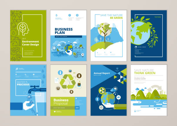 Set of brochure and annual report cover design templates of nature, green technology, renewable energy, sustainable development, environment Vector illustrations for flyer layout, marketing material. environment stock illustrations