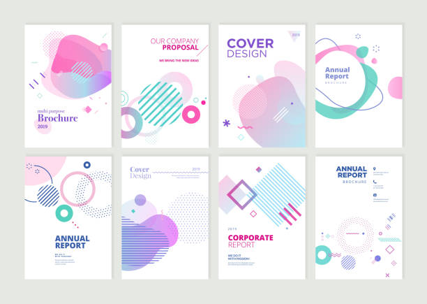 set of brochure, annual report and cover design templates for beauty, spa, wellness, natural products, cosmetics, fashion, healthcare - abstract stock illustrations
