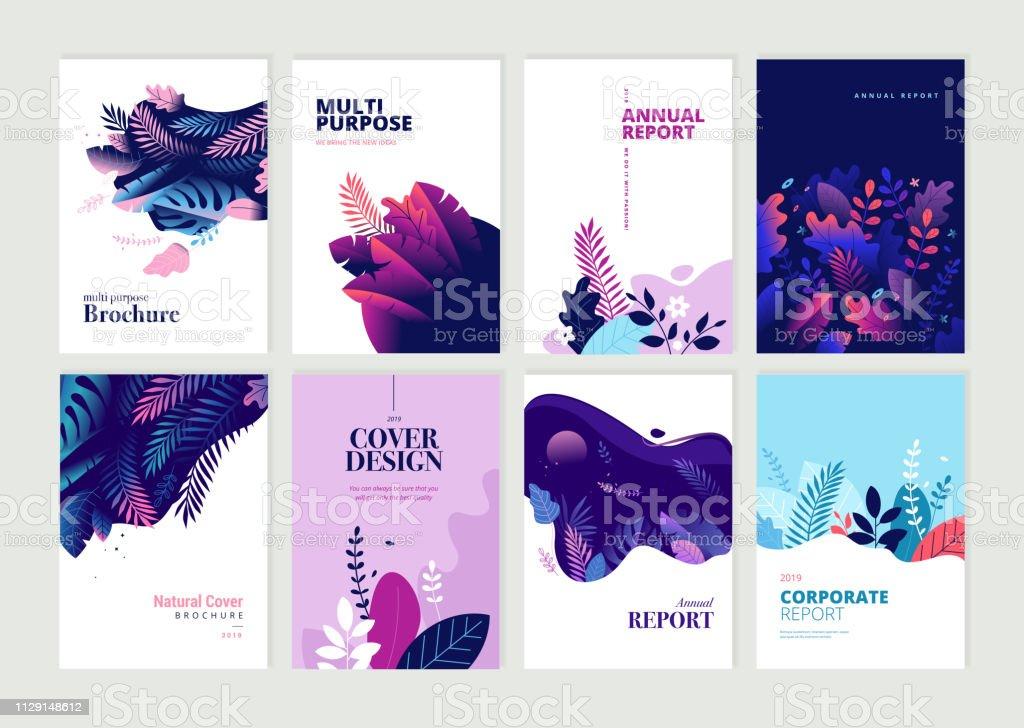 Zestaw broszur, raport roczny i szablony projektowe dla urody, spa, wellness, produktów naturalnych, kosmetyków, mody, opieki zdrowotnej - Grafika wektorowa royalty-free (Abstrakcja)