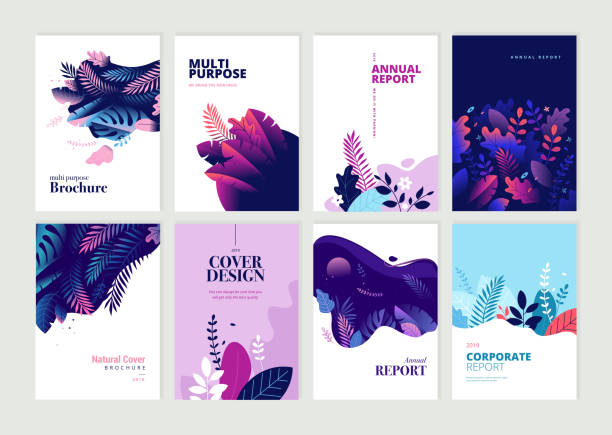 set of brochure, annual report and cover design templates for beauty, spa, wellness, natural products, cosmetics, fashion, healthcare - annual reports templates stock illustrations