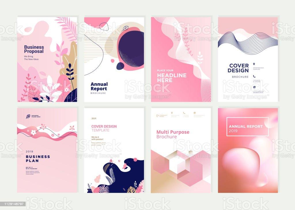 Set van brochure, jaarverslag en dekking ontwerpsjablonen voor beauty, spa, wellness, natuurlijke producten, cosmetica, mode, gezondheidszorg - Royalty-free Abstract vectorkunst