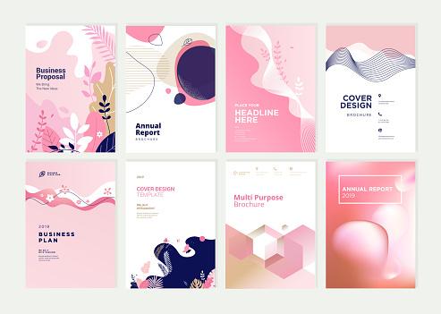 Set Van Brochure Jaarverslag En Dekking Ontwerpsjablonen Voor Beauty Spa Wellness Natuurlijke Producten Cosmetica Mode Gezondheidszorg Stockvectorkunst en meer beelden van Abstract
