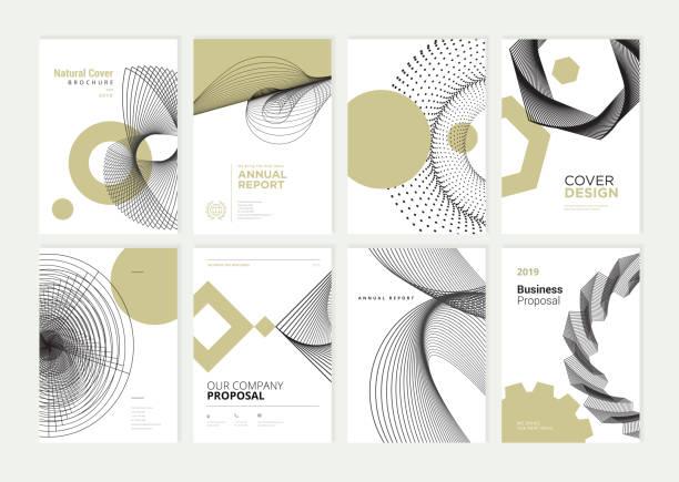 ilustrações, clipart, desenhos animados e ícones de conjunto de folheto, relatório anual, modelos de projeto flyer em tamanho a4 - banco edifício financeiro
