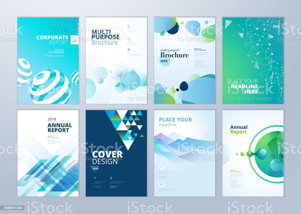 Satz von Broschüre, Geschäftsbericht, Flyer Design-Vorlagen im A4-Format – Vektorgrafik