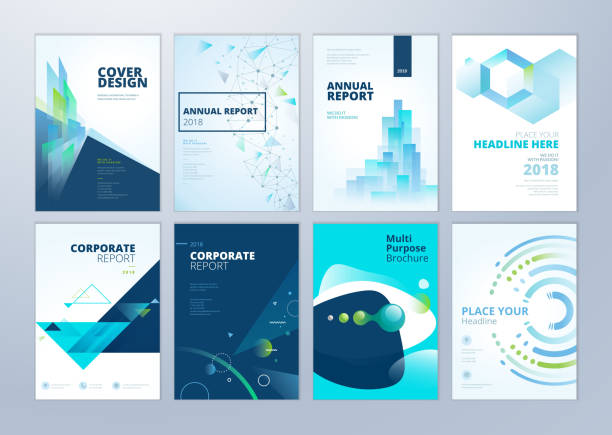 set of brochure, annual report, flyer design templates in a4 size - stationery templates stock illustrations