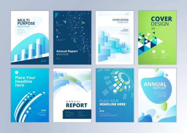 stockillustraties, clipart, cartoons en iconen met set brochure, jaarverslag, flyer ontwerpsjablonen in a4-formaat - tijdschriftcover