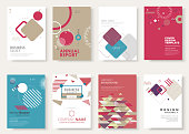 Set of brochure, annual report, flyer design templates. Vector illustrations for business presentation, business paper, corporate document cover and layout template designs