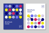 Set of brochure cover design layouts with abstract geometric link graphics