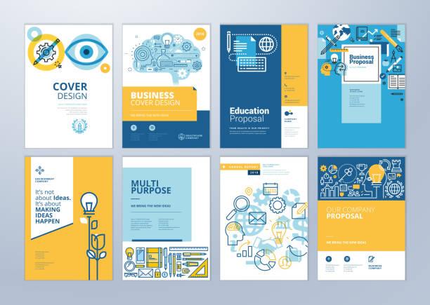 illustrazioni stock, clip art, cartoni animati e icone di tendenza di set of brochure design templates on the subject of education, school, online learning - struttura pubblica