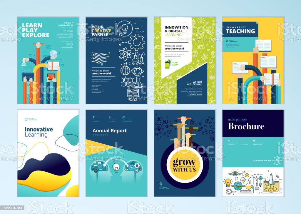 Set of brochure design templates on the subject of education, school, online learning vector art illustration