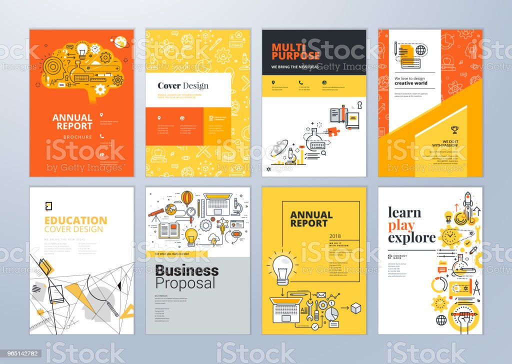 Set of brochure design templates on the subject of education, school, online learning. royalty-free set of brochure design templates on the subject of education school online learning stock vector art & more images of abstract