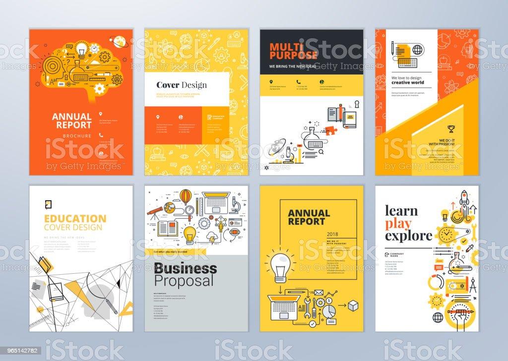 Festlegen der Broschüre Design-Vorlagen zum Thema Bildung, lernen Schule, online. – Vektorgrafik