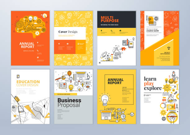 stockillustraties, clipart, cartoons en iconen met set van brochure ontwerpsjablonen op het gebied van onderwijs, leren school, online. - flyer