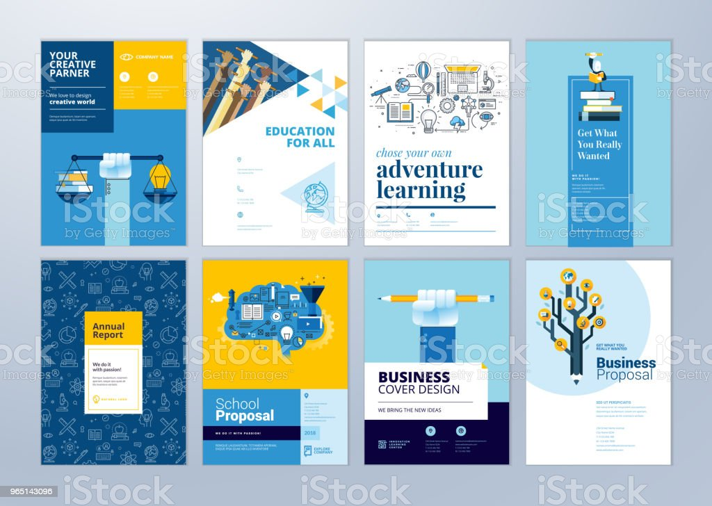 Set of brochure design templates on the subject of education, school, online learning. royalty-free set of brochure design templates on the subject of education school online learning stock illustration - download image now