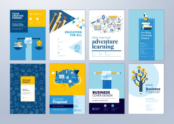 Set of brochure design templates on the subject of education, school, online learning. vector art illustration