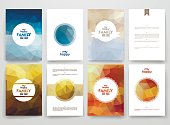 Set of brochures in poligonal style on family theme. Beautiful frames and backgrounds