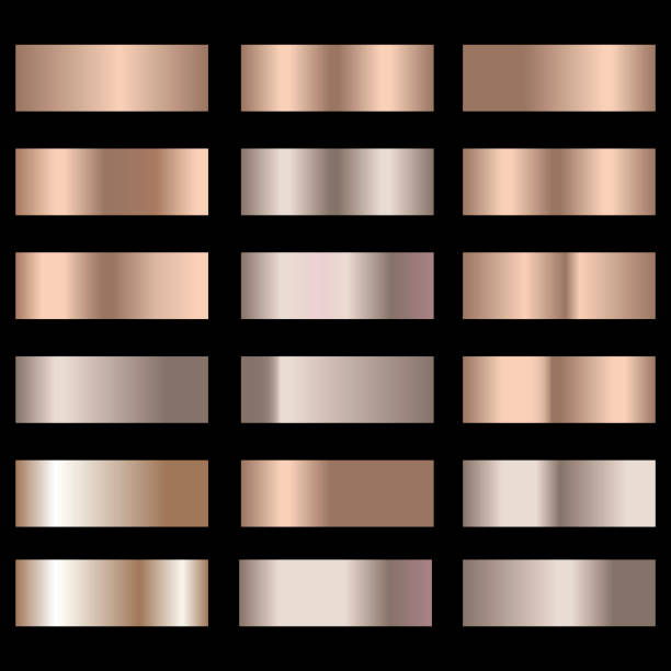 satz von bronze folie textur abstufung hintergrund. vektor. - kupfer stock-grafiken, -clipart, -cartoons und -symbole