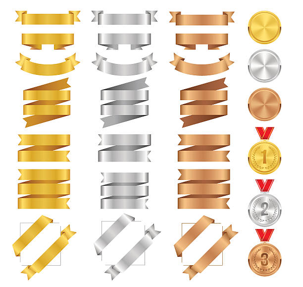 Set of bronze, golden, silver ribbons and vector award medals. vector art illustration