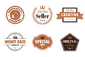 Set of 6 Brown badges and labels, isolated on white background (Premium Quality - Guaranteed, The Best Seller, Creative - The Best Design, Money Back - 100% Guaranteed, Special Offer, Original - Best Quality). Elements for your design, with space for your text. Vector Illustration (EPS10, well layered and grouped). Easy to edit, manipulate, resize or colorize.