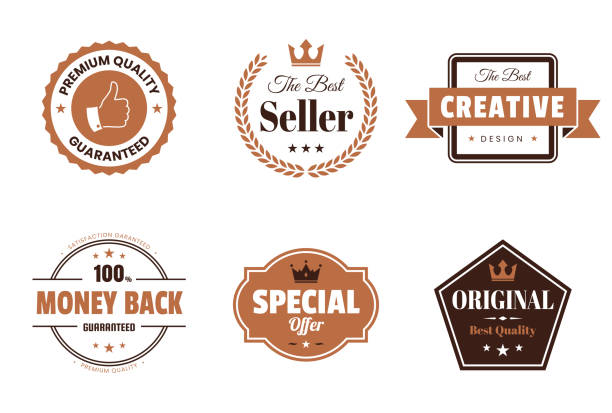 Set of Brown Badges and Labels - Design Elements Set of 6 Brown badges and labels, isolated on white background (Premium Quality - Guaranteed, The Best Seller, Creative - The Best Design, Money Back - 100% Guaranteed, Special Offer, Original - Best Quality). Elements for your design, with space for your text. Vector Illustration (EPS10, well layered and grouped). Easy to edit, manipulate, resize or colorize. win stock illustrations