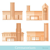 Set of brown colored flat funeral services buildings of crematorium different style vector illustration