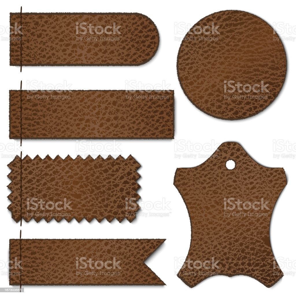 Set of brown leather labels on white background royalty-free set of brown leather labels on white background stock vector art & more images of abstract