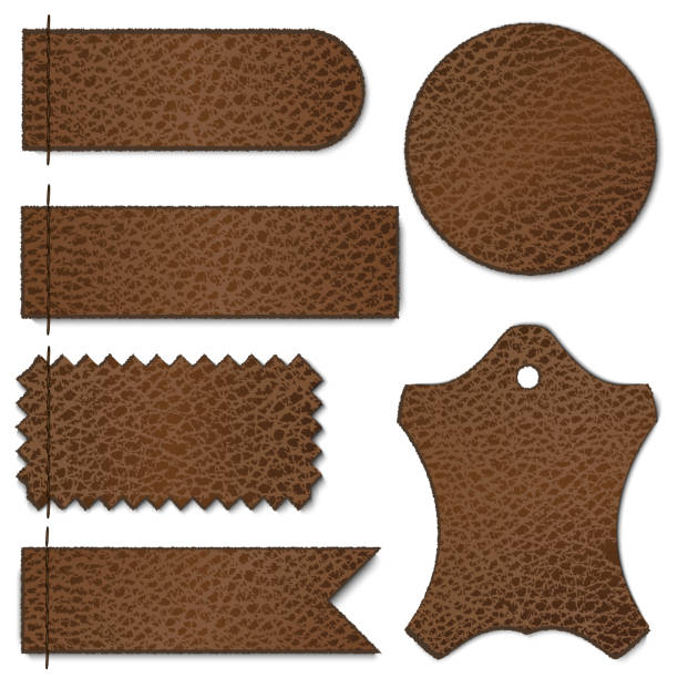 Set of brown leather labels on white background File version: AI 10 EPS. File contains transparencies. No gradient mesh. Major elements are grouped. fabric swatch stock illustrations