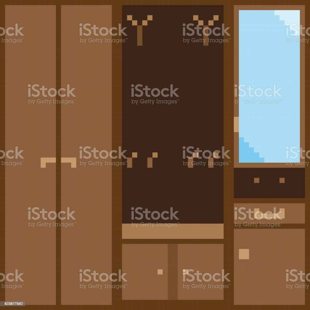 Un conjunto de muebles modulares color marrón para el pasillo en el estilo de pixel - ilustración de arte vectorial