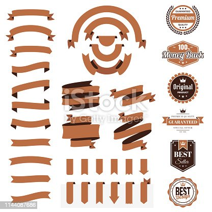 Set of Brown ribbons, banners, badges and labels, isolated on a blank background. Elements for your design, with space for your text. Vector Illustration (EPS10, well layered and grouped). Easy to edit, manipulate, resize or colorize.