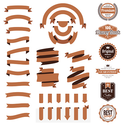 Set of Brown Ribbons, Banners, badges, Labels - Design Elements on white background