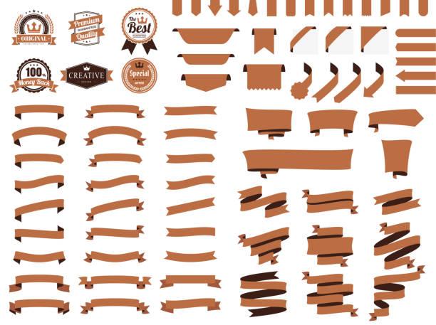 Set of Brown Ribbons, Banners, badges, Labels - Design Elements on white background vector art illustration