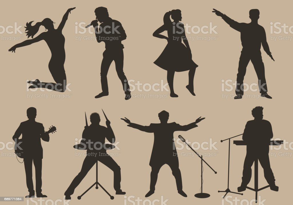 Set of brown silhouettes of musicians, singers and dancers on beige background. Vector illustration vector art illustration