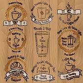 Set of brown vintage coffee badges on wooden background vector illustration