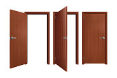istock Set of Brown Wooden Doors on white background, realistic vector illustration 1323862484