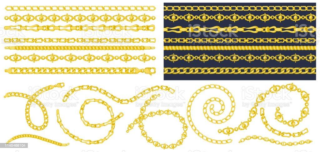 Set Of Brush Patterns With Retro Handdrawn Sketch Golden