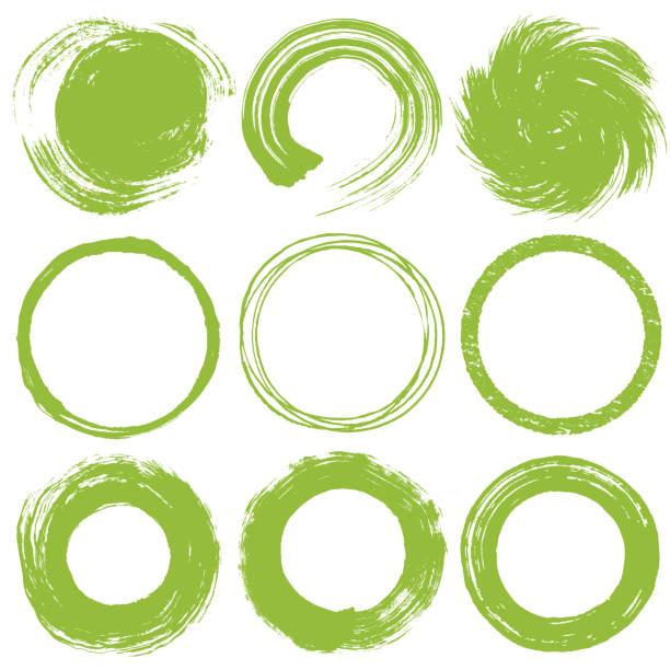 ブラシストロークの円のセット。緑茶のイメージ。 - 抹茶点のイラスト素材/クリップアート素材/マンガ素材/アイコン素材