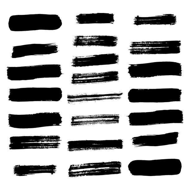 ilustraciones, imágenes clip art, dibujos animados e iconos de stock de conjunto de líneas y trazos de pincel. vector. aislado. - brush stroke