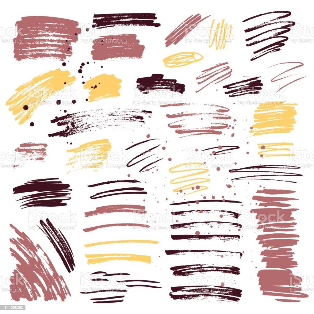 Set of brush strokes and splashes. Hand drawn illustration. vector art illustration
